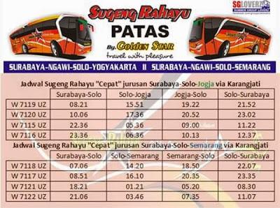 Jadwal Sugeng Rahayu By Golden Star